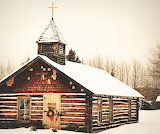Rustic Church at Christmas