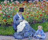 Camille Monet and a Child in the Artist's Garden