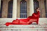 Woman, red dress, building, stairs