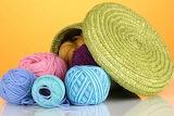 Yarn in a green basket