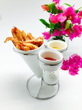 ^ French Fry Holder with Saucers, Salt Shaker