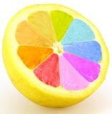 Orange slice with rainbow colors