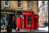 Shops downtown Edinburgh Scotland