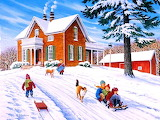 Children play in the snow-John Sloane