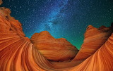 Canyon rocks under the milkyway