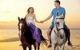 Man, woman, horses, beach, love