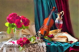 Violin and flowers still life