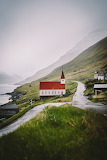 Faroe Islands mountain village church