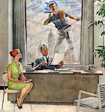 Winking Window Washer~ NormanRockwell