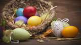 Easter - eggs - basket - feathers