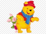 Winnie-the-pooh-and-piglet-with-winter-hats-