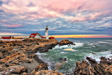 Winter Cape Elizabeth Lighthouse Maine USA