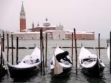 Gondolas in snow, Venice, Italy Feb 28, 2018