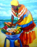 Fruit Vendor at the beach - painting