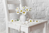 Wall, chamomile, chair, pitcher, napkin, flowers, daisies