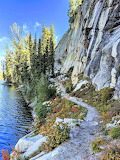 Narrow path shore of Imogene Lake Idaho