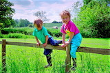 children climbing on wooden fence