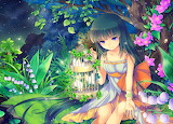 Anime girl in forest