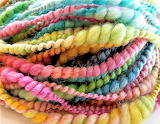 hand spun candy-twist yarn
