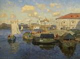 Barges in Novgorod 1913 by Konstantin Gorbatov