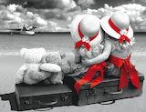 Girls, sea, suitcase, teddy bear, boat, hats, red ribbon 2