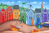 Colourful Beach Huts  - Peter Adderley
