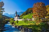 Church, chapel, autumn, trees, mountains, river, Germany, Bayern