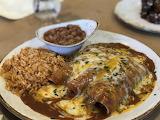 Tex-Mex, Enchiladas, rice and beans