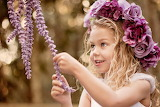 Joy, flowers, smile, mood, girl, wreath, child