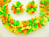 ^ Green, yellow-orange leaves necklace and earrings
