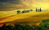 Church, farm, fields, sunset, landscape, yellow, Tuscany, Italy