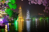 Guilin china park at night