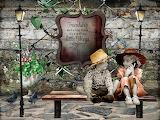 Children boy girl hats sign friends pigeons lanthern bench frien