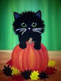 Black Kitten and Pumpkin