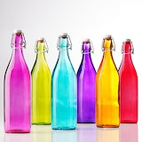 ^ Colored glass bottles