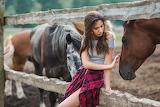 People-women-model-straight-hair-long-hair-horse-sitting-auburn-