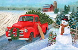 Colours-colorful-red truck-Christmas-painting