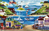 By the sea Folk Art