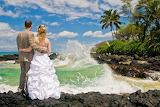 Couple, wedding, beach, ocean, waves, palm trees, rocks, Maui, H