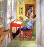 Carl-Larsson-Esbjörn-doing-his-homework-1912