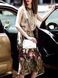 Queen Mulock 'Apricot Floral Silk Crew Neck Sleeveless Midi Dres