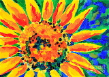 Bright-colorful-single-sunflower-acrylic-painting-beverly-claire