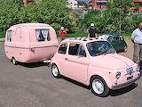Pink Fiat 500 + Caravan