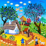 Rural cottage-painting
