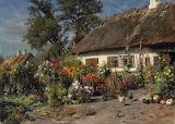 Peder Mønsted - A Cottage Garden with Chickens