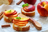 ^ Bruschetta with peach and ricotta
