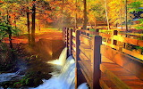 Walkway over creek in the fall