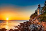 sunset on Bass Harbor Head, USA