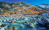 Winter landscape mountain riverstones