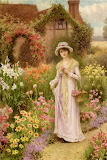 Girl by a Herbaceous border~ WilliamAffleck
